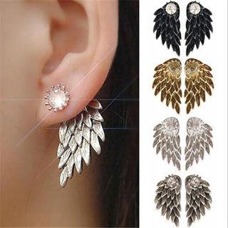 SUPPER COOL Fashion Vintage Angel Feather Wing Rhinestone HoopHook Ear Stud Women Earrings