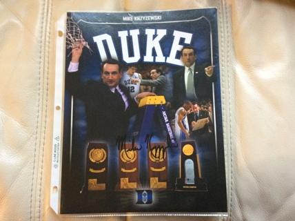 "AUTOGRAPHED MIKE KRZYZEWSKI 8-1/2"" x 11"" Basketball Photo DUKE BLUE DEVILS AUTO"