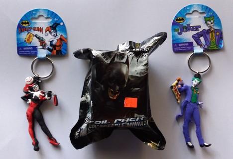 Lot of 3 Batman Items - Random HeroClix Game Piece + Harley Quinn & Joker Keychains