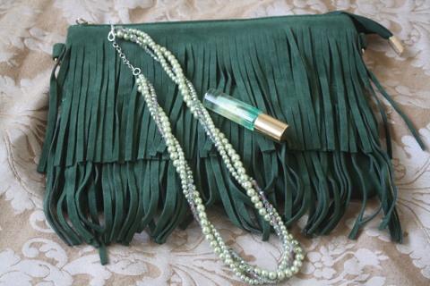 Green Fringe Clutch, Freshwater Pearl twist Necklace & Abundance Fresh travel size Parfum