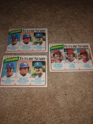 3 Card lot 1980 Topps vintage baseball Mickey Hatcher and Tom herr,All  rookies