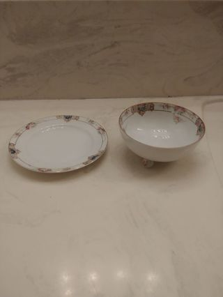 Hand Painted Rice bowl & saucer Nippon