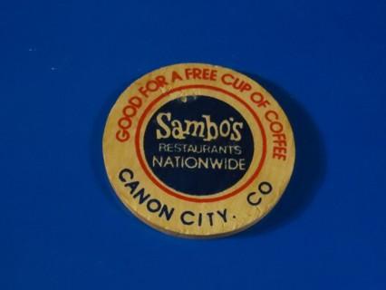 RARE WOODEN NICKEL SAMBO'S RESTAURANTS, CANON CITY, CO.
