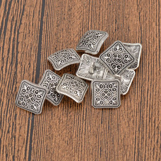 20Pcs Vintage Square Shank Buttons For Jacket Coat Shirt Silver DIY Sewing