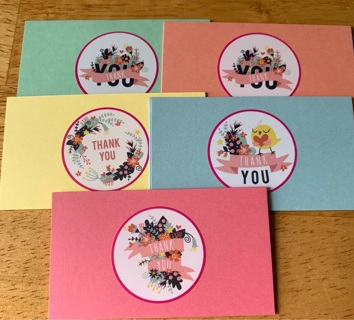 Colored Thank You Cards
