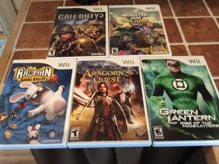 NINTENDO WII Video Game Lot CALL OF DUTY 3 - RAYMAN RAVING RABBIDS- LORD OF THE RINGS More