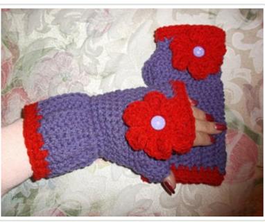 Handmade RED HAT SOCIETY INSPIRED Crocheted / Knitted Fingerless Gloves