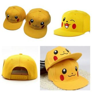 Kids Adults Baseball Cap Pikachu Snapback Cartoon Hip Hop Adjustable Sports Hats