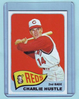 1965 Topps Style Pete Rose Charlie Hustle Variation Card # 207 Reds