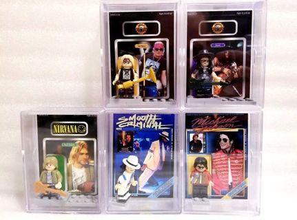 "lot of 5 pieces> "" Michael Jackson, kurt Cobain, guns n roses lego style mini figures & custom packs"