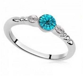 NEW Sterling Silver .925 Czech Turquoise Crystal CZ Ring Austria Fashion Designer Jewelry FREE S&H