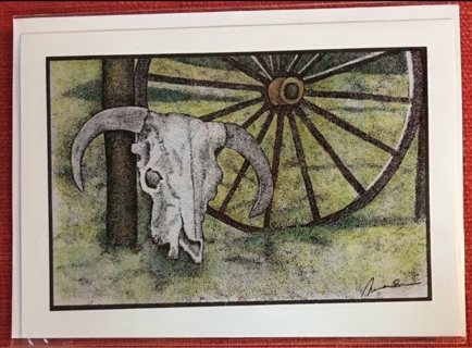 "COW SKULL & WAGON WHEEL  5 x 7"" art card by artist Nina Struthers - GIN ONLY"