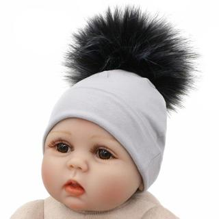2018 Newborn Baby Hat Faux Raccoon Fur Pompom Beanie Hats Cotton Solid Hat For Baby Girls Boys Tod