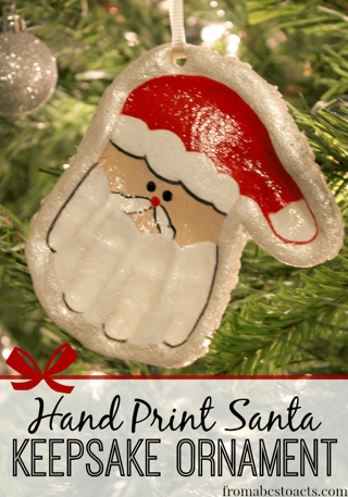 DO IT YOURSELF with KIDS= DOUGH SANTA HAND ORNAMENT diy