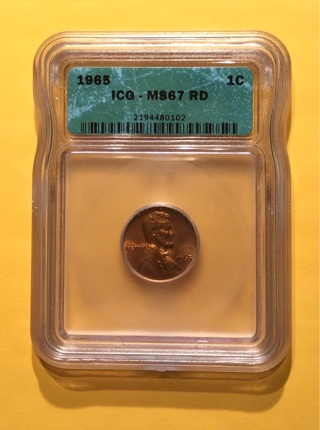 1965 ICG MS67 RD Penny