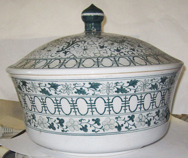 COVERED SOUP TUREEN WITH STEAM HOLES, MARKED