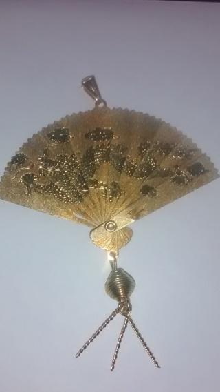 Gold Dragon/Crane Open/Close Fan Pendant (Read Description)