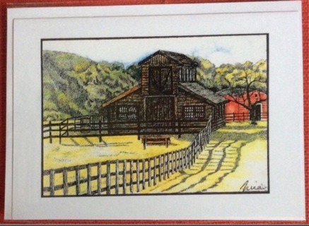 "BARN WITH FENCE - 5 x 7"" Art Card by Nina  - GIN ONLY"