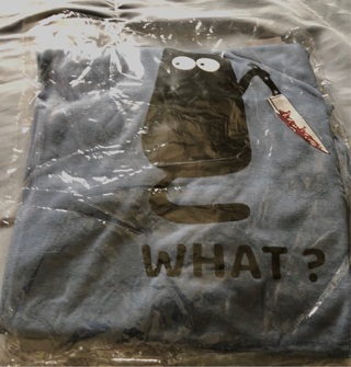 "BNIP Blue, Size 2x (29"" L; 25.5"" Pit to Pit) Silly Cat, ""WHAT?"" Short Sleeved Tee"