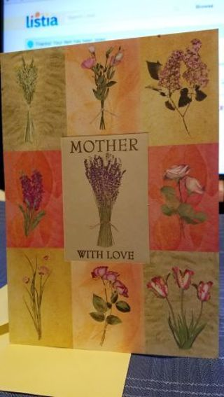 BEAUTIFUL BIRTHDAY CARD TO MOM WITH LOVE CARD W/ YELLOW ENVELOPE