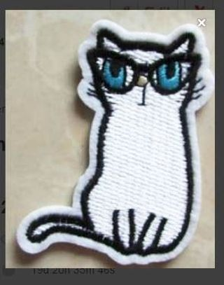 1 NEW Cat with Glasses Patch IRON ON Kitty FREE SHIPPING