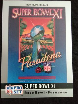 "1990 NFL Pro Set ""Super Bowl XI"" Theme Art Football Card #11"