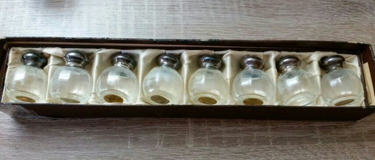 8 Vintage Wil Sterling Silver Crystal Individual Salt And Pepper Shakers In Box