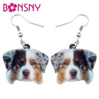 Bonsny Acrylic Novelty Australian Shepherd Dog Earrings Drop Dangle Fashion Cartoon Animal Jewelry