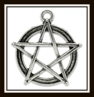 NEW! Pentagram Pentacle Tibetan Silver Pendant Charm, 31mm x 28mm!
