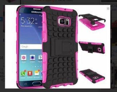 1 NEW SAMSUNG GALAXY s6 PHONE CASE Pink HYBRID Scratch-Resistant Shock Absorbent Tire non slip Grip