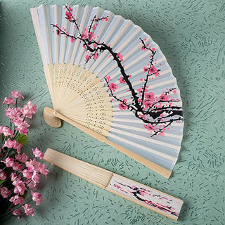 Folding Hand Fan Japanese Cherry Blossom Design Silk Costume Party