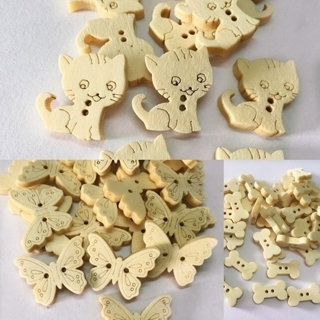[GIN FOR FREE SHIPPING] 50PCs Natural Wooden Buttons Butterfly Cat Dog Bone Shape Sewing