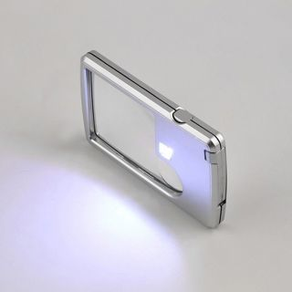 [GIN FOR FREE SHIPPING] Credit Card 6x LED Light Jewelry Loupe Magnifier + Leather Case