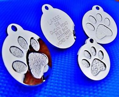 Round Paw Dog Pet ID Tags Disc Dog name tag Dog tag or Cat tag Engraved Free
