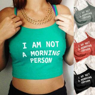 Women Letters Print Sleeveless Crop Vest Tank Shirt Blouse Cami Mini Tops Vest