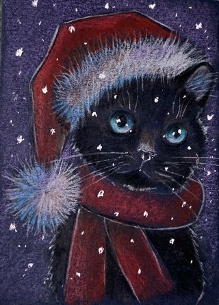 New Christmas Santa Winter hat black cat kitten baby it's cold outside