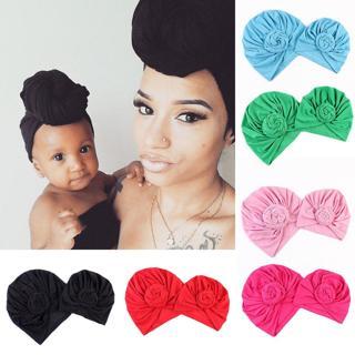 2Pcs Mom Mother Baby Child Warm Twist Knot Turban Cap Kids Boys Girls Beanie Hat
