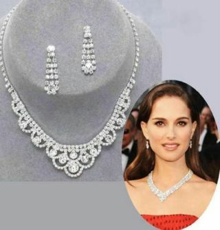 Inspired Crystal Tennis Statement Necklace Earrings Women Celebrity Jewelry Set