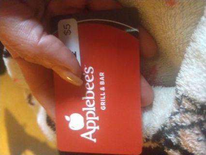 $5.00 Applebee's gift card