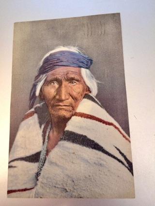 Vintage Postally Used Linen Postcard - Navajo Indian Scout Hosteen Tso (Big Fat Man)