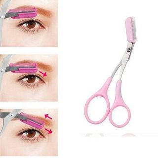 Pink Eyebrow Scissors Trimmer Thinning Shears Comb Shaping Eyebrow Grooming