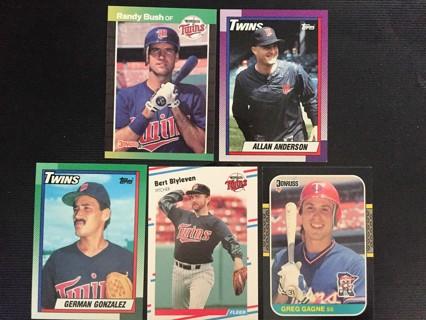 5 TWINS R. BUSH, A. ANDERSON, G. GONZALEZ, B. BLYEVEN & G. GAGNE TRADING CARDS