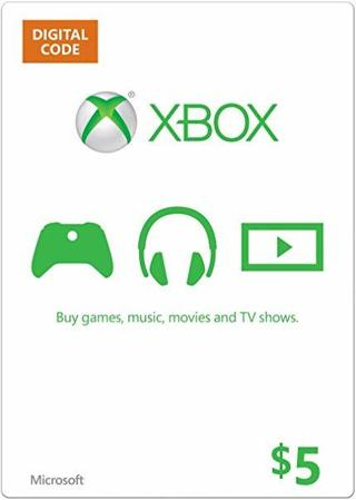 1 Xbox 5.00$ E Gift Card Online Game Code xbox 360 x-box one Egiftcard gift card GC Microsoft $5