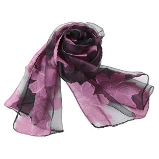 New Women's Scarf Leaves And Flower Pattern Long Shawl Scarves Spring Autumn High-Quality