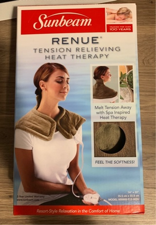New Sunbeam Heating Pad for Neck & Shoulder Pain Relief, 4 Heat Settings with Auto-Off