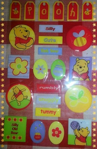 POOH BEAR Scrapbooking stickers (includes 1sheet)