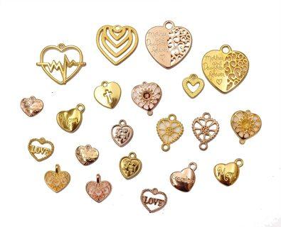 10PC GP MIXED HEART CHARMS Lot 2 (PLEASE READ DESCRIPTION)