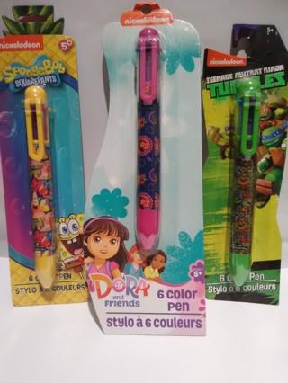 3 Nickelodeon 6 Color Pen