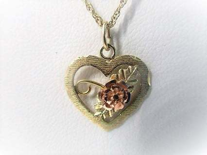 10k Black Hills Gold Heart Pendant Necklace