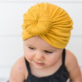 New Baby girls Solid Colored Donut Hats BeBe Turban Hood Solid Knotted Cap Unisex Cotton Soft Cute